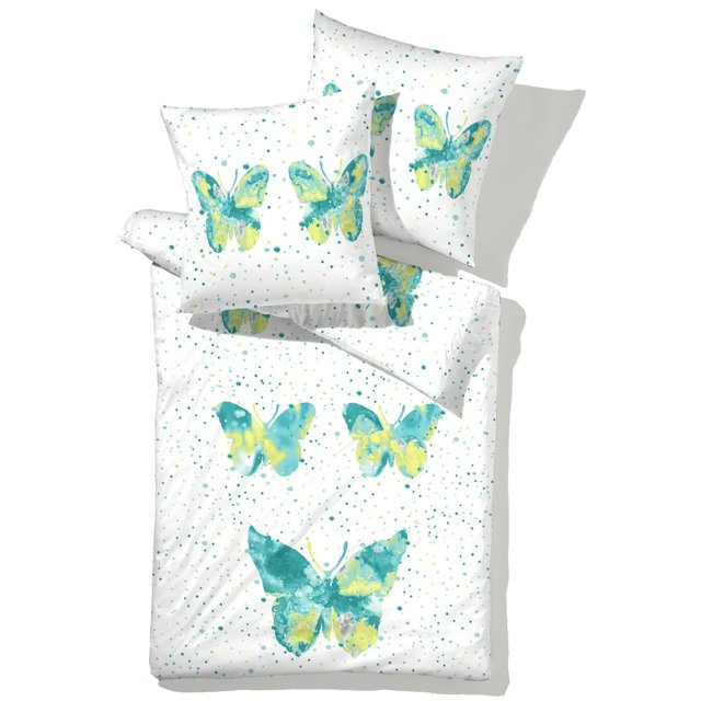 LIVING DREAMS Mako-Satin Bettwäsche BUTTERFLY aqua