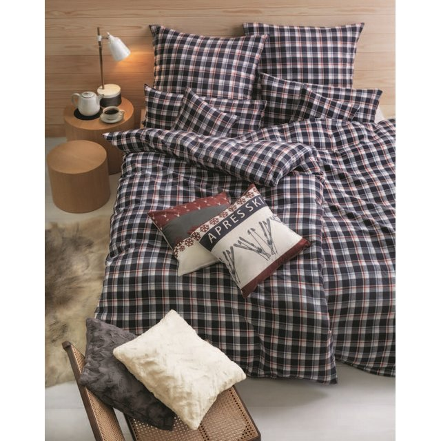 LIVING DREAMS Fein-Flanell Bettwäsche BLACK CHECK